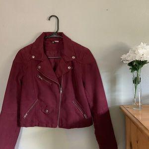 H&M Dark Maroon Cropped Suede Moto Jacket
